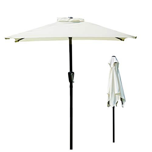 Novonova - Sombrilla de jardín 150 × 210 cm, protección solar UV50 + parasol cuadrado ajustable en altura SY-PS416 (beige)