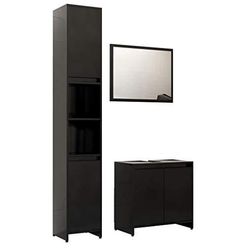 vidaXL Badmöbel Set 3-TLG. Hochschrank Unterschrank Spiegel Waschbeckenunterschrank Badezimmermöbel Badschrank Badezimmerschrank Schwarz Spanplatte