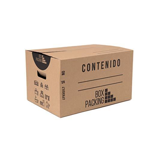BOXPACKING | 2-wellige Umzugskartons | 10 Stück | 500x300x300 mm | Verstärkte Doppelkanal-Wellpappe | Extra Stabil & Stapelfähig | Griffeverstärkte