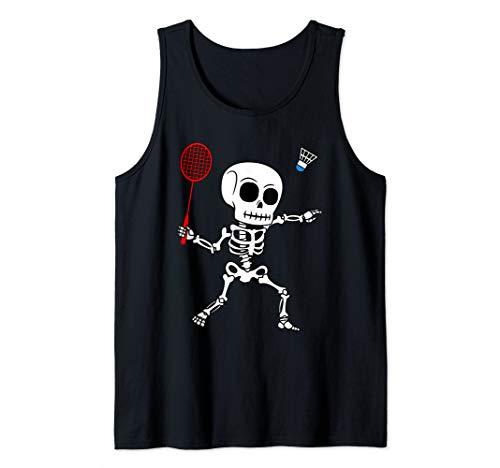 Skeleton Badminton Halloween Smash Shuttlecock Easy Costume Tank Top