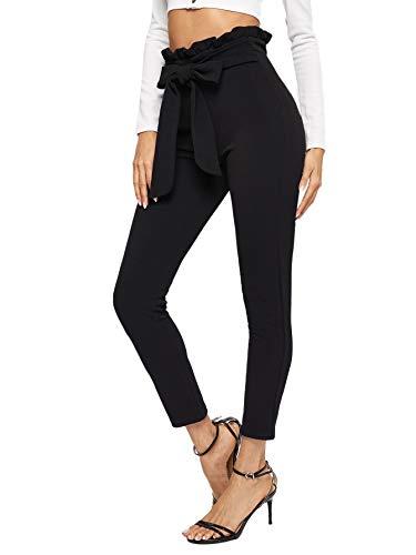 SOLY HUX Damen Hosen Rüschen Sweathose mit elastischer Bund Schleife Knoten Gürtel Hose Pants Schwarz M