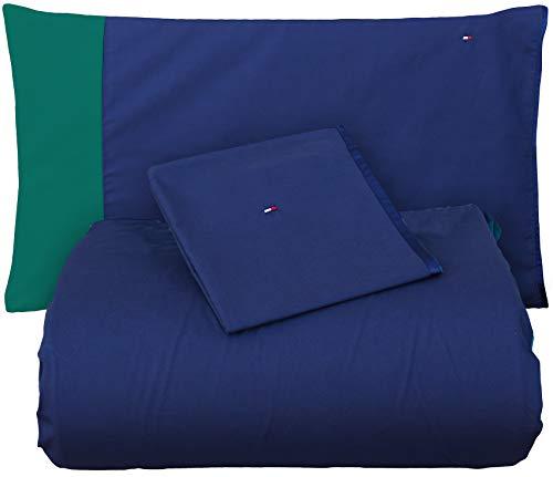Tommy Hilfiger Tailor Evergreen - Juego de funda nórdica para cama de matrimonio, 2 plazas, satén de algodón puro + 2 fundas de almohada, no incluye sábana bajera
