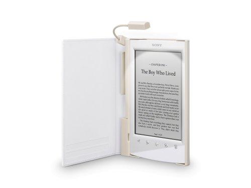 Sony PRSA-CL22 - Tapa protectora blanca con luz para lector de eBook - piel sintética, policarbonato, plástico ABS