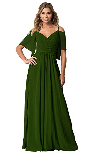 KKarine Women's Off The Shoulder Chiffon Long Bridesmaid Gown with Sleeves 24W Olive Green