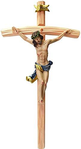 Kaltner Präsente Geschenkidee - 35 cm Wandkreuz Kruzifix mit Jesus Christus Figur aus Kunststein auf Kreuz aus Holz von Hand bemalt