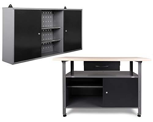 Ondis24 Werkstatteinrichtung, Werkstatt mit Werkbank 120 cm, mit höhenverstellbaren...