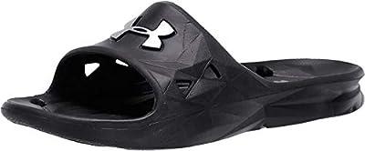 UNDER ARMOUR Men's Locker III Slide Sandal, Black (001)/Metallic Silver, 10