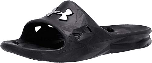 Under Armour Slides UA Locker III Chanclas de hombre, zapatos para playa de secado rápido, chanclas con correa ideales para el vestuario y la piscina, Black/Metallic Silver (001), 9