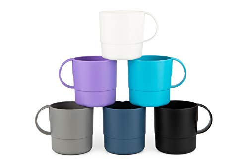 Amuse- Eco Friendly Sturdy Unbreakable & Stackable Mugs for Water, Coffee, Milk, Juice, Tea- Set of 6-11 oz (Assorted Colors II)