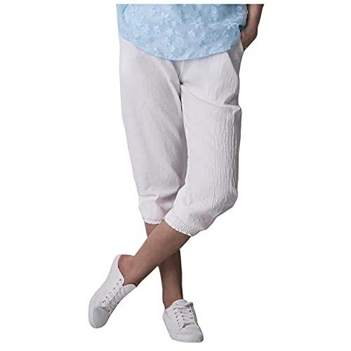 Dainzuy-Hat Damen Hose 3/4 Länge Haremshose High Waist Sommer Capri Pumphose Weites Bein Freizeithose Leicht Boho Strand Hose für Frauen Pumphose für Jogging Laufen Fitness Hohe Taile Coolem