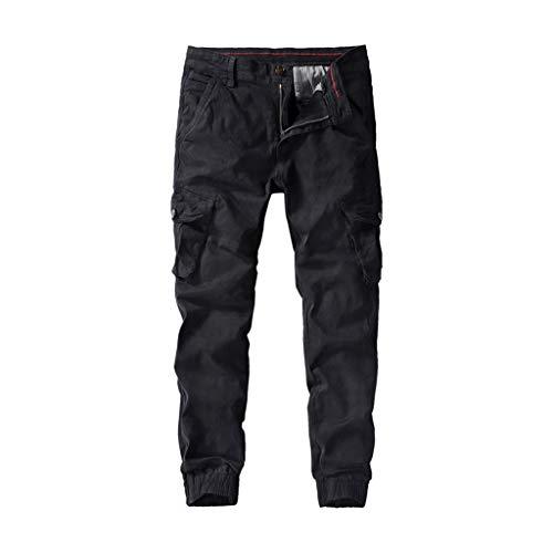 Aoogo Herren Washed Pocket Tooling Hose Neue Trend Bequeme Hose Beiläufige gefaltete Multi Taschen mittlere Taillen-Feste lose Lange Hosen