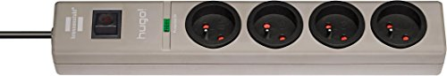 Brennenstuhl Steckdosenleiste mit Überspannungsschutz, 4Steckdosen, grau, 1150611614