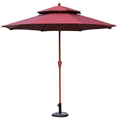 Sombrillas (incluida la Base jardín, Dosel de Madera, café al Aire Libre, Rojo/Verde, para mesas cuadradas y Redondas para protección contra el Sol y la Lluvia