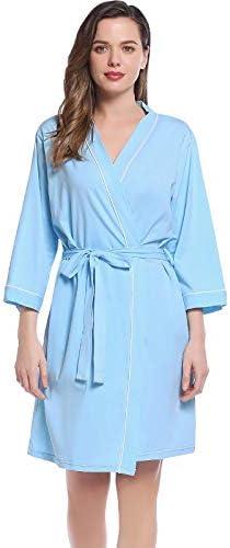 Womens Sleep Night Robe Thin Summer Cotton Knit Ultra Soft Bathrobe Light Blue product image