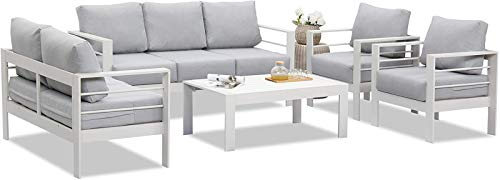 Wisteria Lane Outdoor Patio Furniture Sets, Aluminum Conversation Set Modern White Metal Sectional Sofa with Grey Cushion