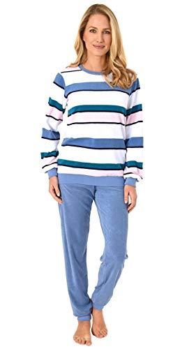 NORMANN-Wäschefabrik Damen Frottee Pyjama Langarm mit Bündchen in lässiger Streifenoptik –auch in Übergrössen, Farbe:hellblau, Größe2:44/46