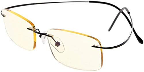 Eyekepper Titanium Rimless Computer leesbril lezer heren dames (zwart + 1,25)