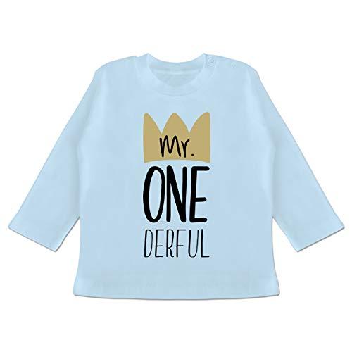 Geburtstag Baby - Mr One Derful - 12/18 Monate - Babyblau - 1 Geburtstag Junge - BZ11 - Baby T-Shirt Langarm