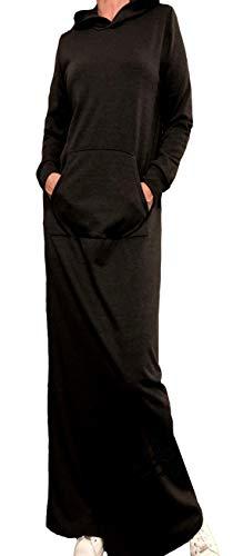 AMAL Muslim Maxi Dress Sport Dresses Long Sleeves Demi-Season Islamic Hijab Knitwear Abaya USA (Black, M)