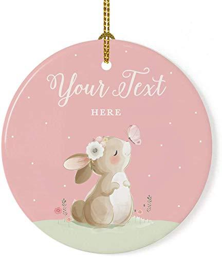 Adorno de árbol de Navidad de porcelana redonda personalizada, regalo coleccionable, su texto aquí, conejito, rubor, rosa menta, 1 paquete, incluye caja de regalo, personalizado, 7,2 x 7,2 cm