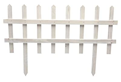 "Eco-Green Wood Products Garden Picket Fence - Decorative Wooden Flowerbed Border - 16"" H x 36"" W Sections - Pack of 6"