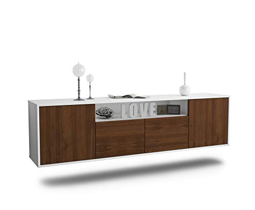 Dekati Lowboard Toledo hängend (180x49x35cm) Korpus Weiss matt   Front Holz-Design Walnuss   Push-to-Open