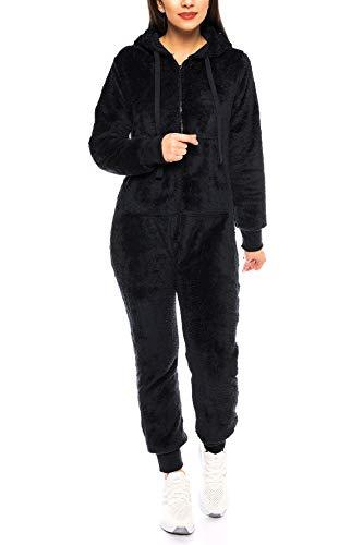 Crazy Age Damen Jumpsuit aus kuscheligem Teddy Fleece | Overall | Ganzkörperanzug Flauschig |Homewear (Schwarz, L~40) - 2