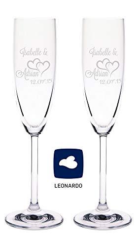 Leonardo Sektgläser mit Gravur von Namen & Datum im - Die Große Liebe Design - Geschenk zur Hochzeit, Verlobung oder zum Jahrestag - das perfekte Hochzeitsgeschenk