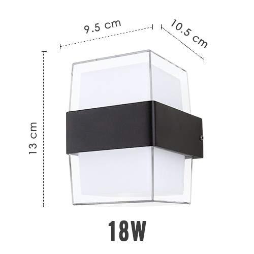 RAQ Moderne led-wandlamp, buitenverlichting, 9 W, 18 W, tuin, gang, balkon, binnenplaats, woonkamer, licht 220 V Warm White Square 2 headsets 18 W.