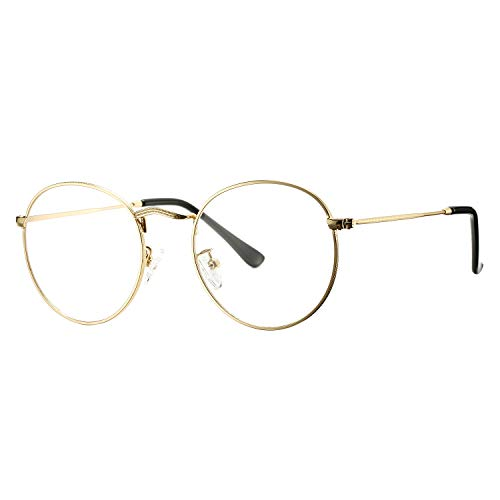 Pro Acme Classic Round Metal Clear Lens Glasses Frame Unisex Circle Eyeglasses (Gold)