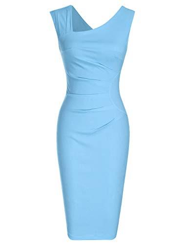 MUXXN Womens 1950s Fashion Retro Sleeveless High Stretch Casual Bridesmaid Light Blue Dress (Airy Blue M)