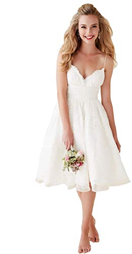 Dreammaking Damen V-Ausschnitt Spitze Brautkleider Hochzeitskleider Kurz Standesamt Boho Strand Abendkleider Prinzessin Weiß Elfenbein