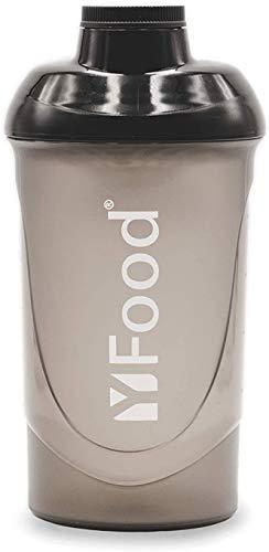 YFood Shaker | Eiweiß Shaker mit erstklassiger Mischfunktion | mit Infusion Sieb | Hochwertiger Protein-Shake Becher | Schwarz | 600ml