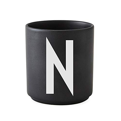 Design Letters Persönliche Porzellantassen Schwarz (N)| Dekorative mit vielen Funktionen | Kaffeebecher/Kaffeetassen | Tasse in Porzellan mit Buchstabe | Personalisierte Geschenke | Erhältlich von A-Z