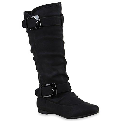 Damen Stiefel Booties Schnallen 123664 Schwarz 36 Flandell