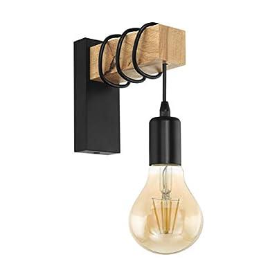 La moderna mezcla de materiales con el listón de madera maciza y clara y el acero negro, proporciona a esta lámpara un auténtico aspecto vintage Aplique de pared de pie con un elegante diseño industrial para interiores, como sala de estar, dormitorio...