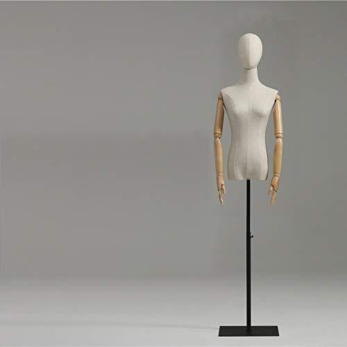 E.enjoy Maniquíes de Costura Femeninas Tailers Dressming Maniquí Torso, Formulario de vestimenta del cuerpo con base de metal y brazos de madera, altura ajustable para la exhibición de joyas de vestir