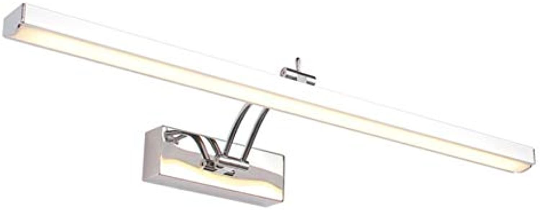 AOHMG Spiegellampen Bad, Modern Edelstahl Wasserdicht Badleuchte Badlampe, Spiegelleuchte Badleuchte,50cm-8W_Cold Weiß