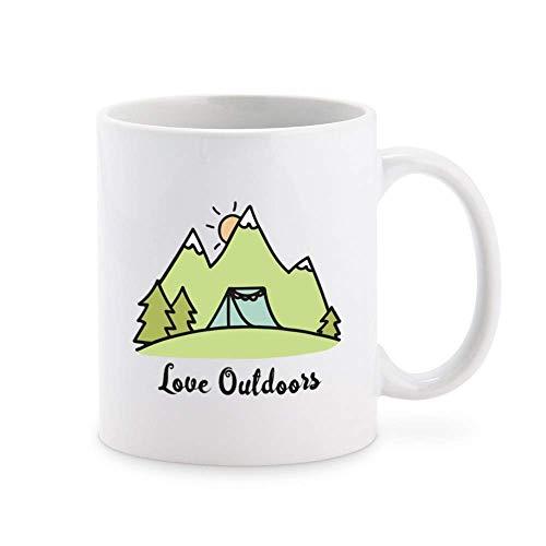 N\A Love Outdoors Camping - Taza de café de Viaje para Acampar Taza de té Tazas de Regalo novedosas 11 oz