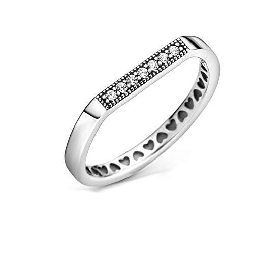 Xpccj Anillos brillantes de la marca de barra apilable anillo en forma de corazón para mujer, joyería de compromiso, anillos de boda y accesorios (tamaño del anillo: 8)