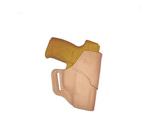 J&J Custom Fit KAHR CW9 OWB (Outside The Waistband) Belt Carry Formed Premium Natural Leather (Natural, Right)