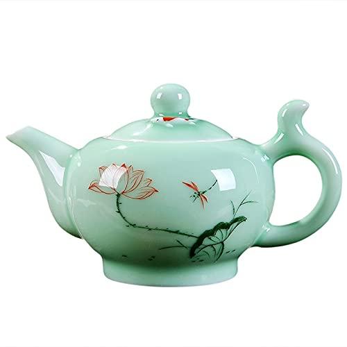 Juego de té Longquan Celadon, tetera de 220 Ml, taza de té de porcelana, juego de té KungFu, tetera pintada a mano, juego de tetera Puer Oolong, regalo