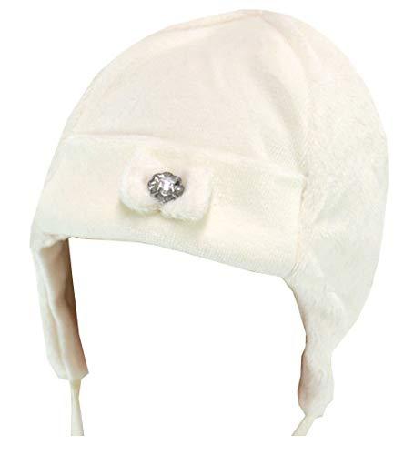 Döll Dolli Mädchen Baby-Mütze weiß - Pelz-Imitat, Gr. 43 (43)