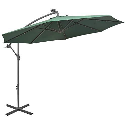 Festnight Zweefparasol met LED-verlichting en metalen paal 300 cm Tuin Parasol Paraplu Buiten Zonnescherm voor Patio/Strand/Zwembad Parasols UV50 + groen