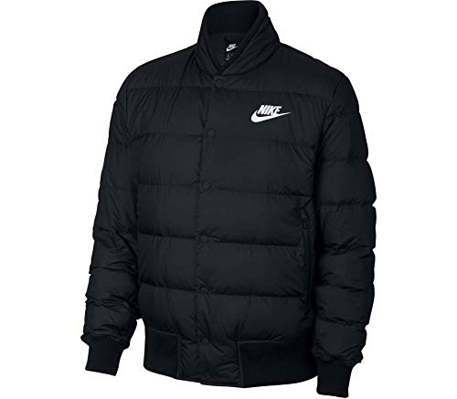 Nike Men's Down Fill Bomber Jacket, Black (Black/White), L