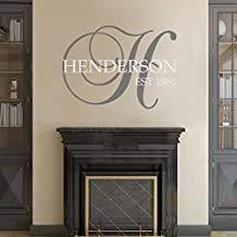 Beatete BATTOO - Adhesivo decorativo para pared, diseño de monograma de familia personalizado, fecha establecida, 16 pulgadas de alto, decoración de sala de estar, más calcomanía para puerta de hola gratis, color gris oscuro y blanco