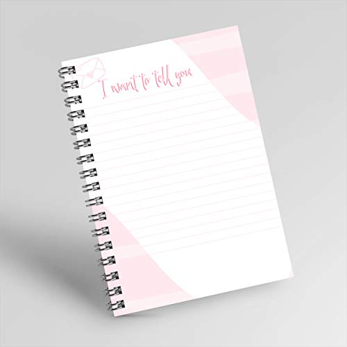 Notebook for monthly planner: has a light pink cover with the text: