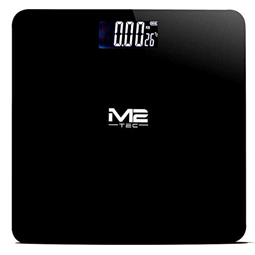M2-Tec Premium Personenwaage Digitalwaage bis 180kg beleuchtetem Display Schwarz