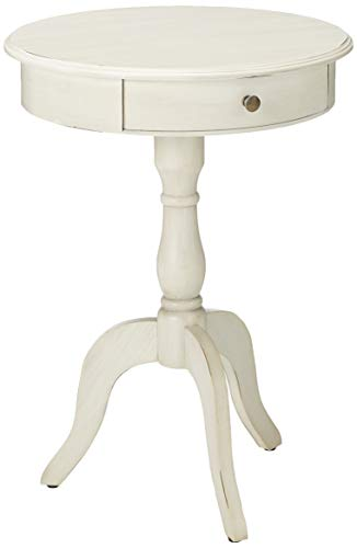 Décor Therapy FR1464 Pedestal Table with Drawer, Antique White