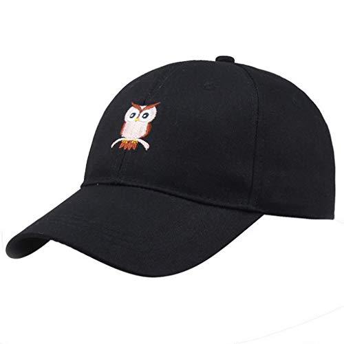 Sombrero Ajustable De La Gorra De BéIsbol del Visera del BúHo del Verano Unisex De Los Hombres De Las Mujeres Negro